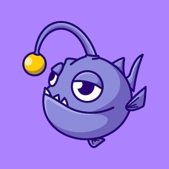 Lindo, pez pescador, caricatura, mascota, ilustración, vector, icono