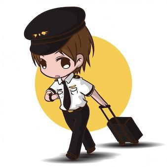 Lindo piloto. personajes de dibujos animados de trabajo