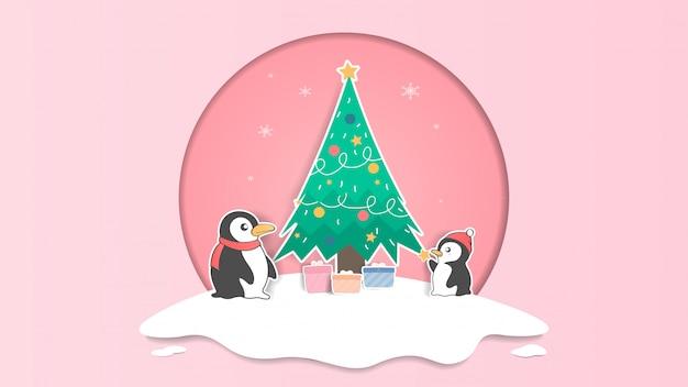 Lindo pingüino y árbol de navidad pastel ilustración de navidad