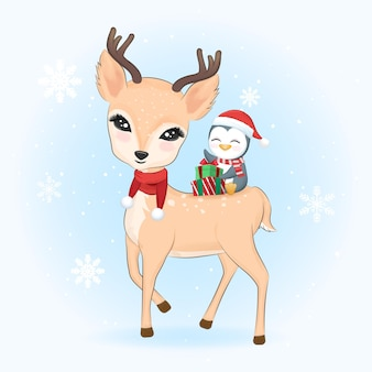 Lindo pingüino y caja de regalo sentado en ciervos. ilustración de navidad.