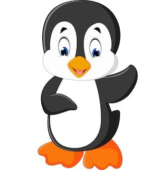 Lindo pingüino de dibujos animados agitando