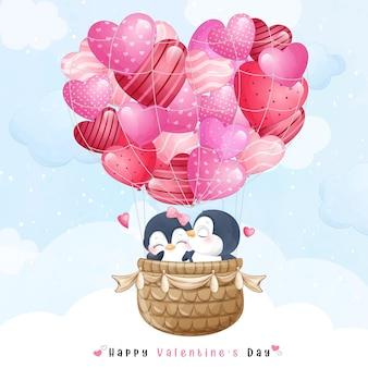 Lindo pingüino doodle volando con globo de aire para el día de san valentín