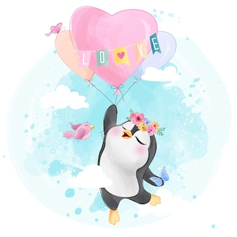 Lindo pingüino con globo en forma de corazón