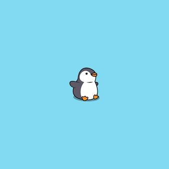 Lindo pingüino gordo sentado icono de dibujos animados