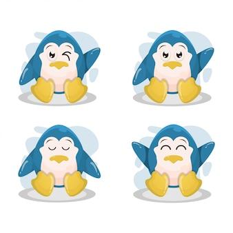 Lindo pingüino mascota vector de la historieta
