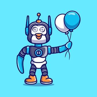 Lindo pingüino robot con globo
