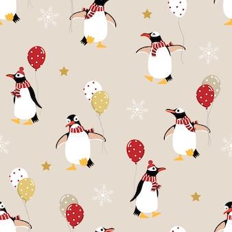 Lindo pingüino en traje de invierno y globos de patrones sin fisuras