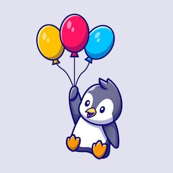 Lindo pingüino volando con globos ilustración vectorial de dibujos animados. vector aislado del concepto de amor animal. estilo de dibujos animados plana