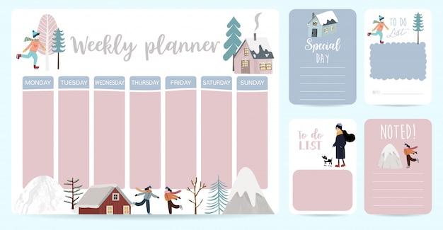 Lindo planificador semanal con casa, nieve, gente, árbol.