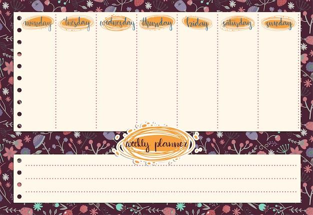 Lindo planificador semanal con el patrón de flores y hojas.