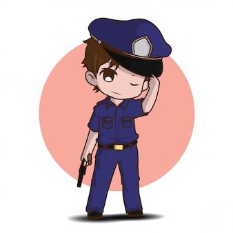 Lindo policía trabajando en uniforme de pie feliz