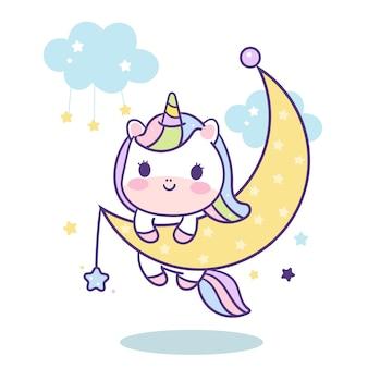 Lindo pony unicornio en luna