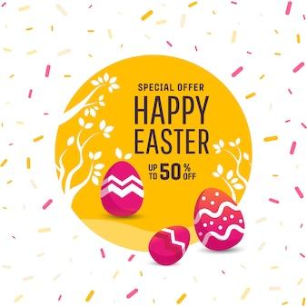 Lindo poster para la caza del huevo de pascua con huevos de colores.