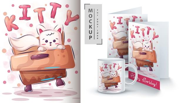 Lindo póster de gatito y merchandising