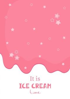 Lindo póster con letras escritas a mano es la hora del helado de las estrellas finales del helado.