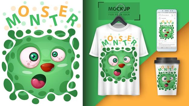 Lindo póster de monstruo y merchandising