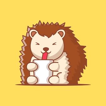 Lindo puercoespín con bebida ilustración vectorial de dibujos animados. concepto del día mundial de los animales