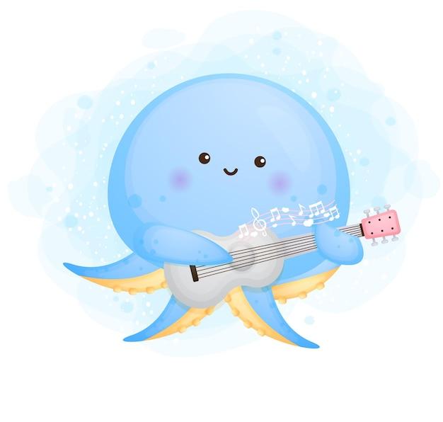 Lindo pulpo bebé doodle tocando un personaje de dibujos animados de guitarra