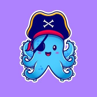 Lindo pulpo pirata con ilustración de icono de dibujos animados de parche en el ojo. animal pirate icon concept premium. estilo de dibujos animados