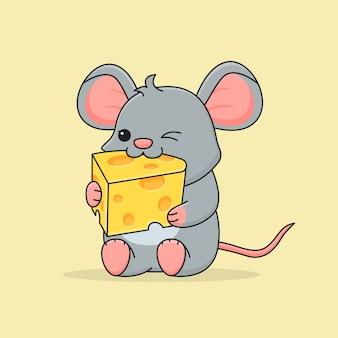 Lindo ratón comiendo queso