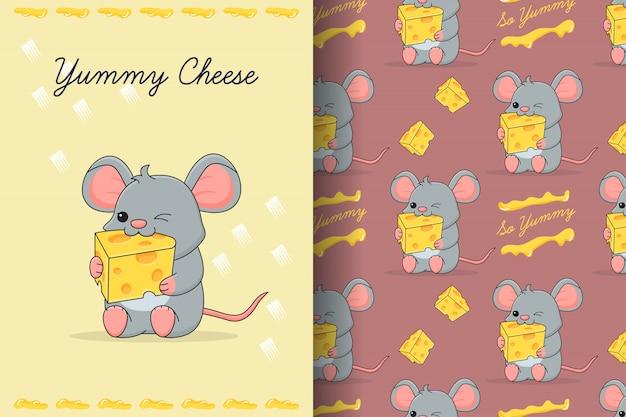 Lindo ratón comiendo tarjeta y patrones sin fisuras de queso