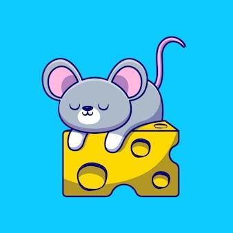 Lindo ratón durmiendo en la ilustración de dibujos animados de queso. concepto de comida animal aislado plano de dibujos animados