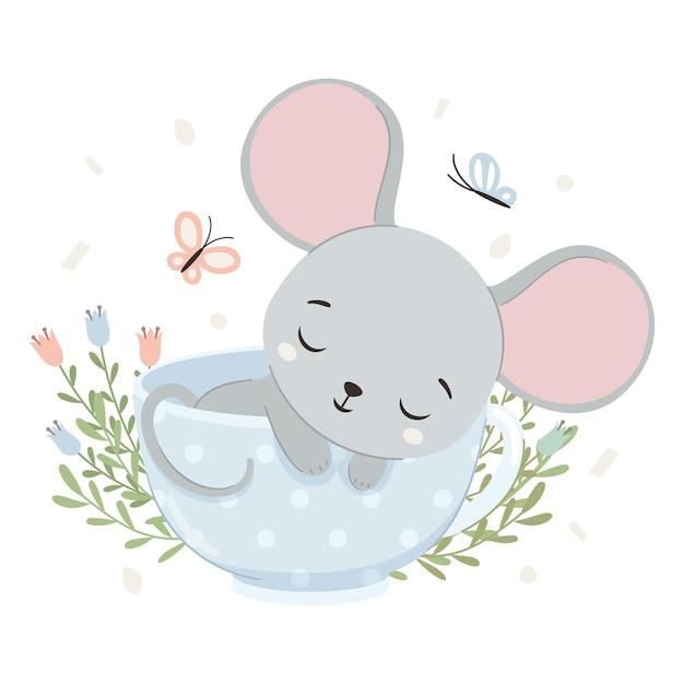 Lindo ratón está durmiendo en taza
