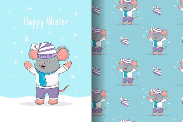 Lindo ratón jugando con tarjeta y patrones sin fisuras de nieve
