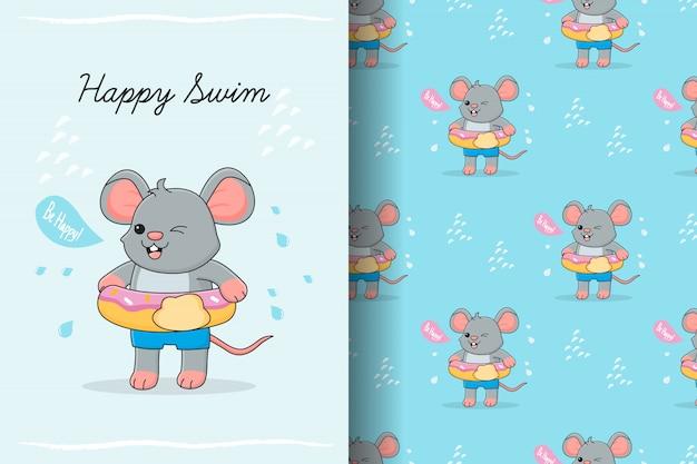 Lindo ratón nadando con tarjeta y patrones sin fisuras de goma donut