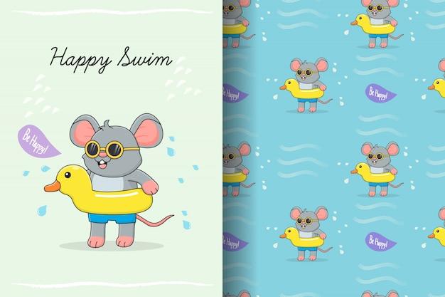 Lindo ratón nadando con tarjeta y patrones sin fisuras de goma de pato amarillo