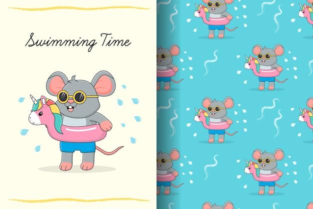 Lindo ratón de natación con tarjeta y patrones sin fisuras de flamenco de goma rosa