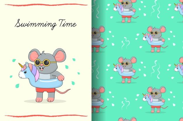 Lindo ratón de natación con tarjeta y patrones sin fisuras de unicornio de goma azul