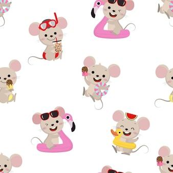 Lindo ratón y patrones sin fisuras de vacaciones de verano