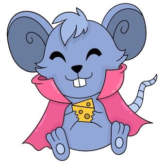 Lindo ratón está sentado feliz trayendo queso para comer, arte de ilustración vectorial. imagen de icono de doodle kawaii.