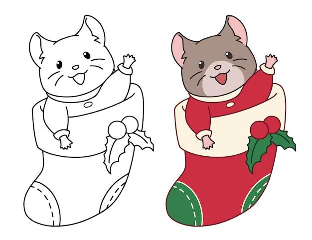 Lindo ratón se sienta en un calcetín de navidad para regalos. imagen del doodle de contorno para colorear, pegatina, postal.