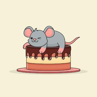Lindo ratón sobre pastel de chocolate