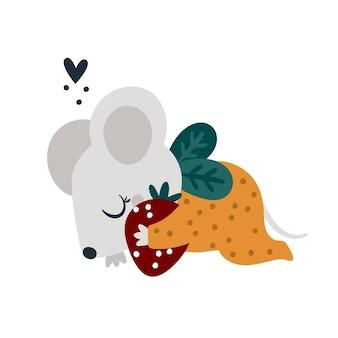 Lindo ratón soñoliento con dulce fresa ilustración de animal bebé para niños