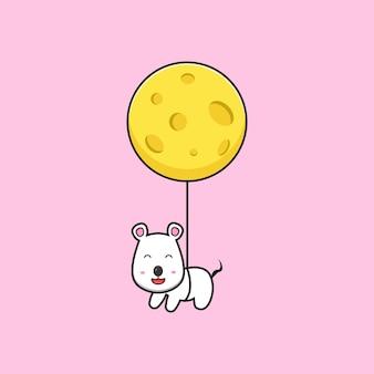 Lindo ratón volando con ilustración de icono de vector de dibujos animados de queso. diseño de estilo de dibujos animados plano aislado.