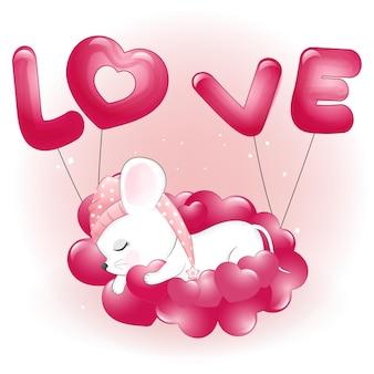 Lindo ratoncito durmiendo en corazones ilustración