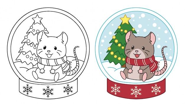 Lindo ratoncito sentado en la bola de cristal. ilustración de vector de contorno aislado sobre fondo blanco.