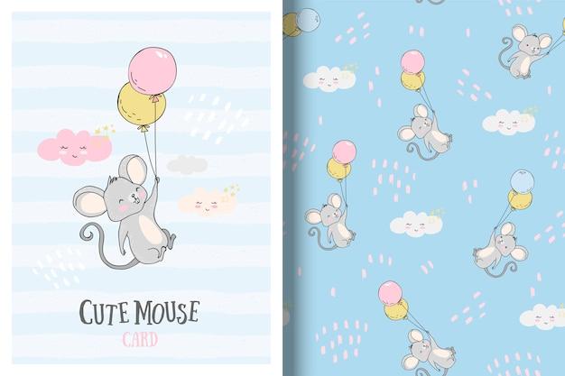 Lindo ratoncito con tarjeta de globos y patrones sin fisuras