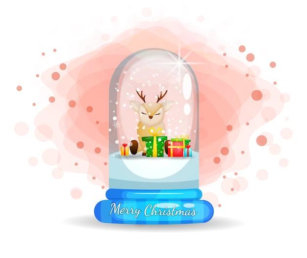 Lindo reno en campana de cristal para el día de navidad