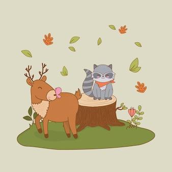 Lindo reno y mapache en el campo arbolado personaje