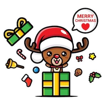 Lindo reno de navidad fuera de caja de regalo