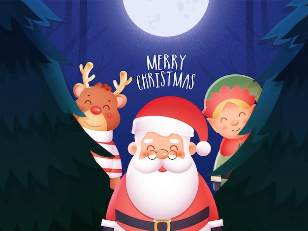 Lindo reno con papá noel y elfo de pie en el hermoso bosque