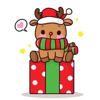 Lindo reno con regalo estilo kawaii