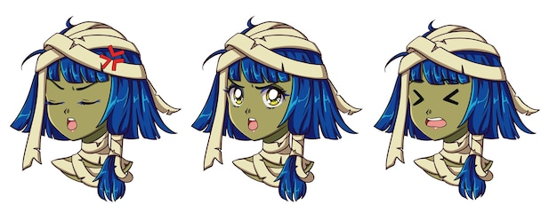 Lindo retrato de niña momia de anime