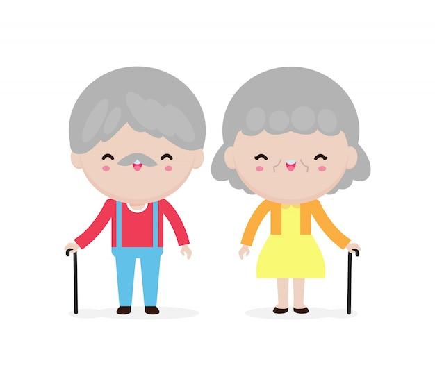 Lindo retrato de pareja de ancianos, abuelos felices, ancianos, senior en estilo de dibujos animados aislado en la ilustración de fondo blanco