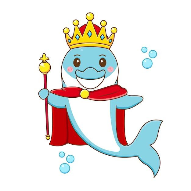 Lindo, rey, delfín, caricatura