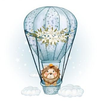 Lindo rey león volando con globos de aire caliente ilustración acuarela